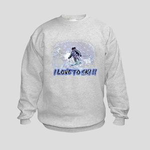 i love to ski Kids Sweatshirt