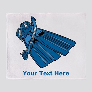 Diving Snorkel etc. And Text. Throw Blanket