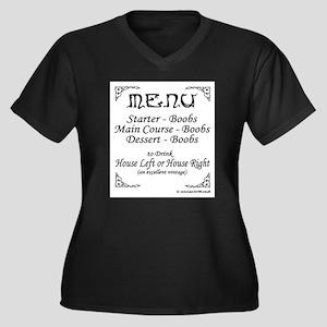 Menu Women's Plus Size V-Neck Dark T-Shirt