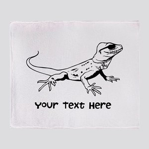 Lizard and Custom Text Throw Blanket