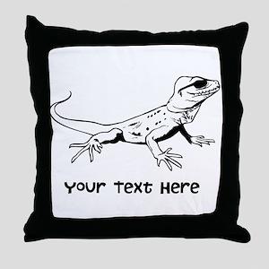 Lizard and Custom Text Throw Pillow