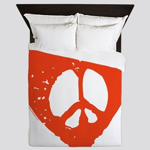 Heart Peace Sign Queen Duvet