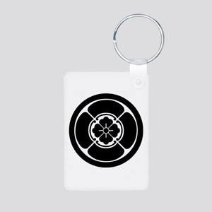Square mokko in circle Aluminum Photo Keychain