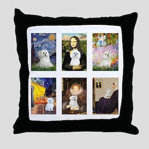 Maltese Famous Art (clr) Throw Pillow