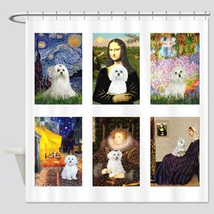 Maltese Famous Art (clr) Shower Curtain