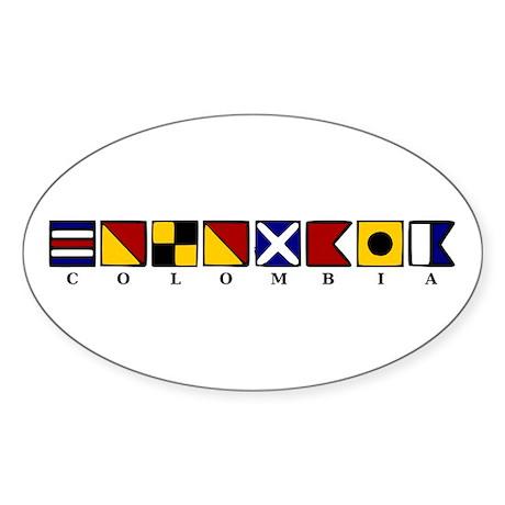 Nautical Colombia Sticker (Oval 10 pk)
