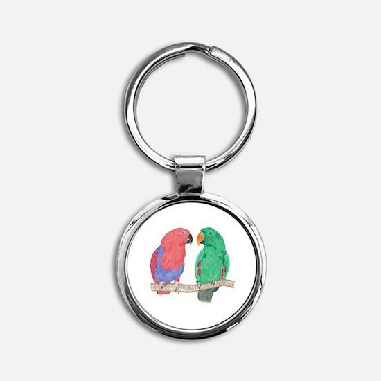 Unique Parrots Round Keychain