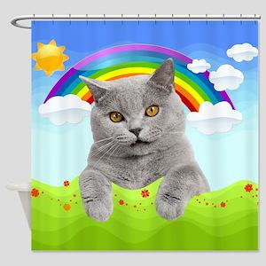Rainbow Kitty Shower Curtain