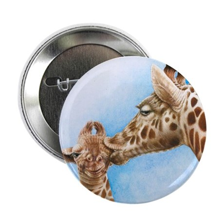 "Giraffe and Calf 2.25"" Button"