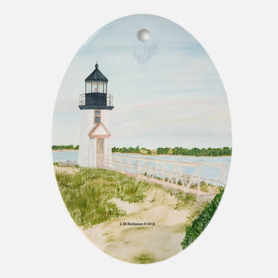 Path to Brant Point Light Ornament (Oval)