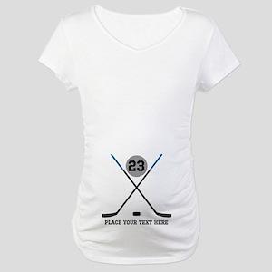 Ice Hockey Personalized Maternity T-Shirt