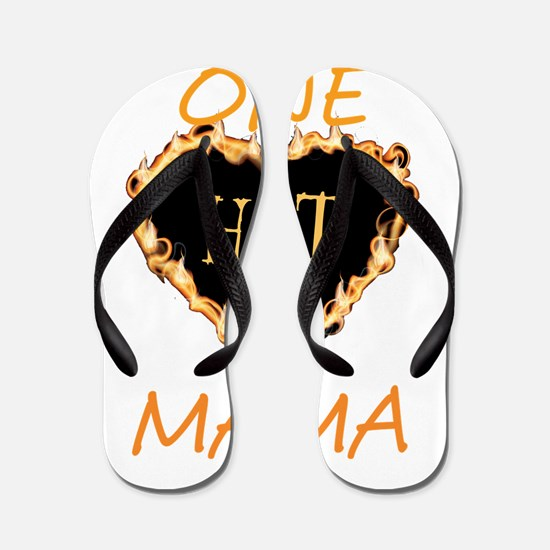 One Hot Mama-Flaming Heart Flip Flops