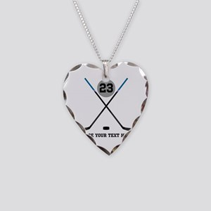Ice Hockey Personalized Necklace Heart Charm