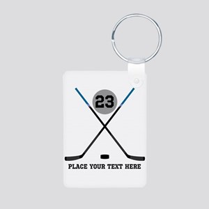 Ice Hockey Personalized Aluminum Photo Keychain