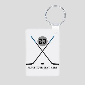 Ice Hockey Personalized Aluminum Photo Keychain
