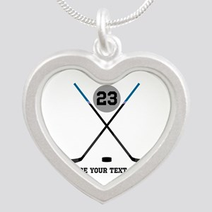 Ice Hockey Personalized Silver Heart Necklace