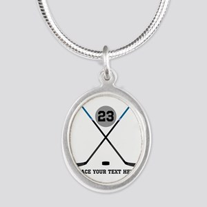 Ice Hockey Personalized Silver Oval Necklace