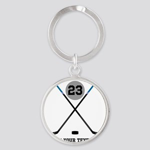 Ice Hockey Personalized Round Keychain