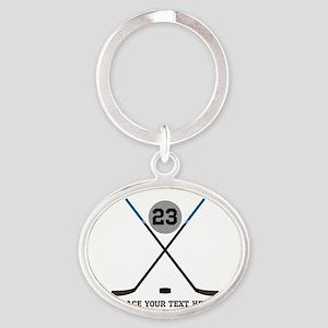 Ice Hockey Personalized Oval Keychain