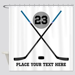 Ice Hockey Personalized Shower Curtain
