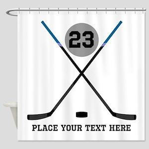 Ice Hockey Personalized Shower Curtain