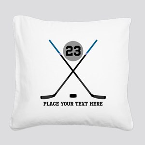 Ice Hockey Personalized Square Canvas Pillow