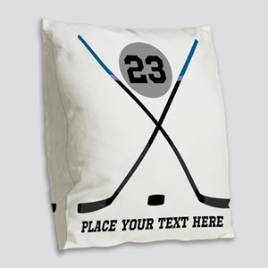 Ice Hockey Personalized Burlap Throw Pillow
