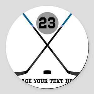 Ice Hockey Personalized Round Car Magnet
