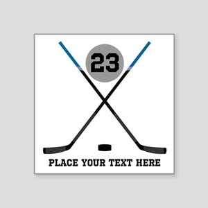 "Ice Hockey Personalized Square Sticker 3"" x 3"""