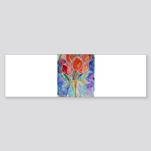 Red Tulips Sticker (Bumper)
