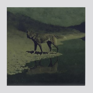 Frederick Remington Art Tile Coaster - Wolf