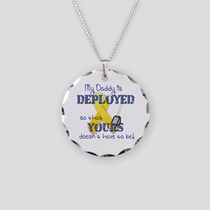 Daddy is Deployed Blue Necklace Circle Charm