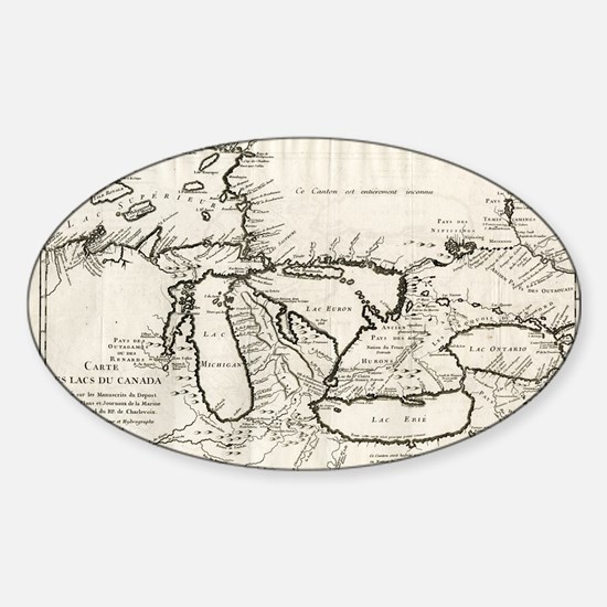 Vintage Map of The Great Lakes (1744) Decal