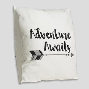 Adventure Awaits Burlap Throw Pillow