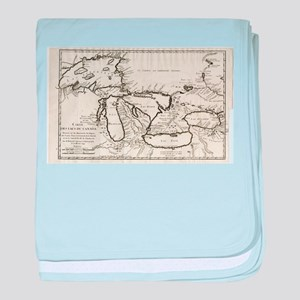 Vintage Map of The Great Lakes (1744) baby blanket