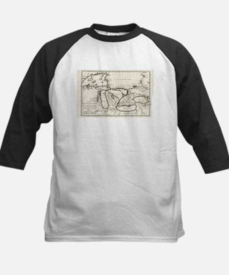 Vintage Map of The Great Lakes (17 Baseball Jersey