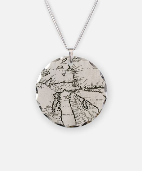 Vintage Map of The Great Lak Necklace
