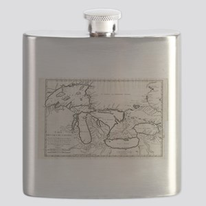 Vintage Map of The Great Lakes (1744) Flask