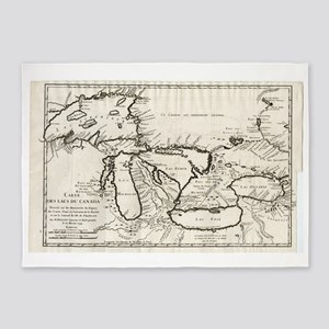 Vintage Map of The Great Lakes (174 5'x7'Area Rug