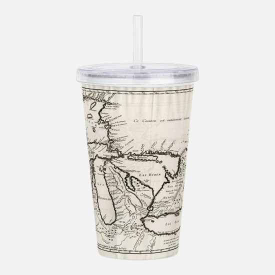 Vintage Map of The Gre Acrylic Double-wall Tumbler