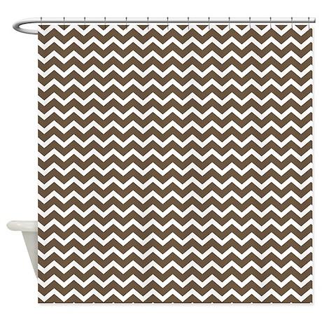 Brown zigzag pattern shower curtain by mcornwallshop for Zig zag bathroom decor