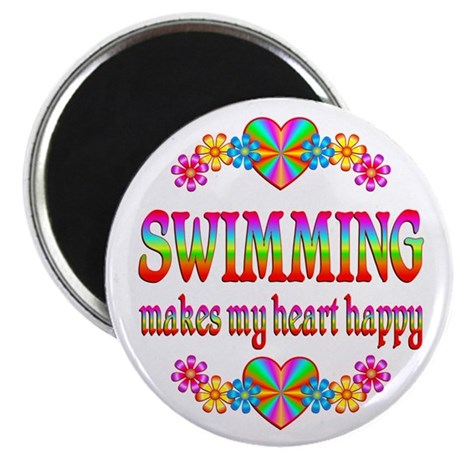 """Swimming Happy 2.25"""" Magnet (10 pack)"""