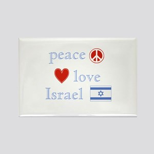 Peace, Love and Israel Rectangle Magnet
