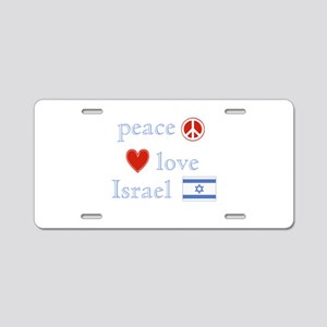 Peace, Love and Israel Aluminum License Plate