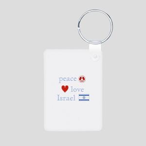 Peace, Love and Israel Aluminum Photo Keychain