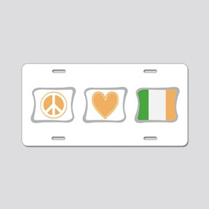 Peace, Love and Ireland Aluminum License Plate