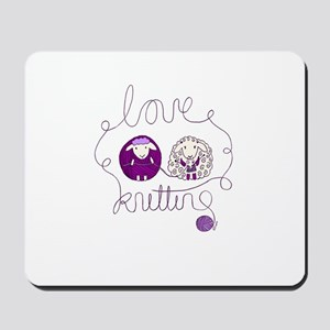cute sheep love knitting Mousepad