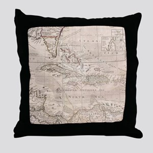 Vintage Map of The Caribbean (1732) 2 Throw Pillow