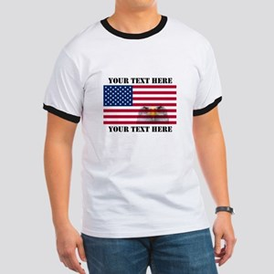 America Flag and Eagle Ringer T