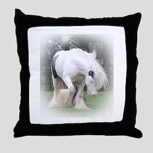 All White Stallion Throw Pillow
